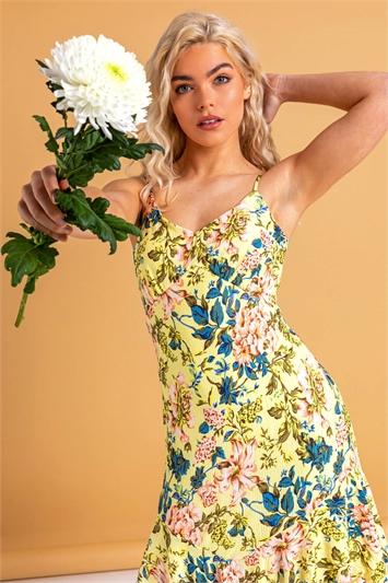 Yellow Fluted Hem Floral Print Dress