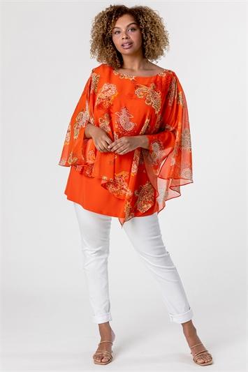 Orange Curve Paisley Print Chiffon Top