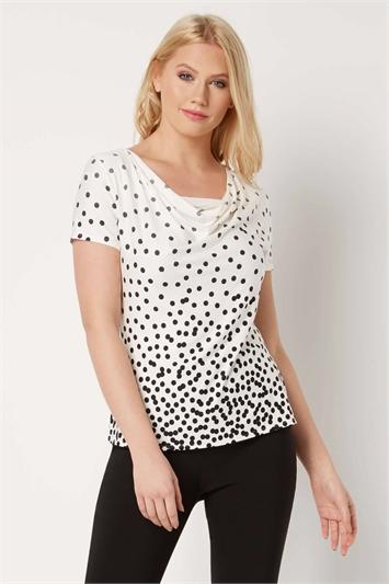 Ivory Polka Dot Cowl Neck Top, Image 1 of 4