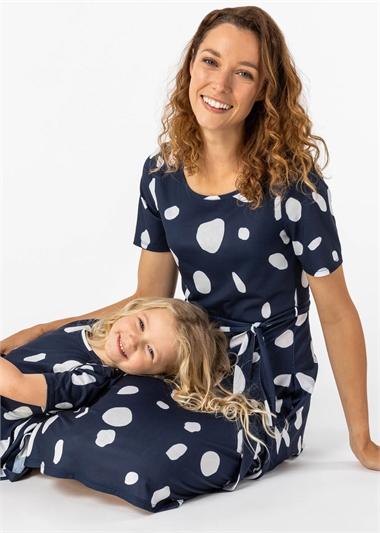 Navy Spot Print Belted Skater Dress, Image 1 of 5