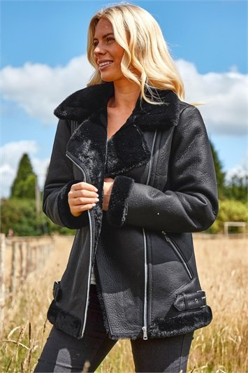 Black Faux Fur Lined Zip Detail Aviator Jacket, Image 1 of 4