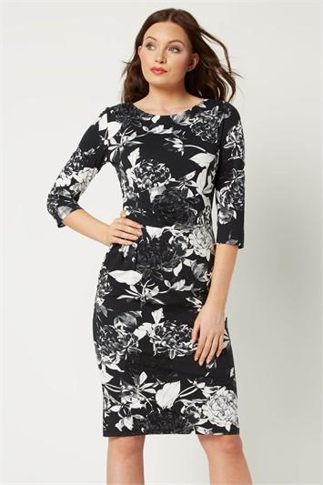Monochrome Rose Print Dress