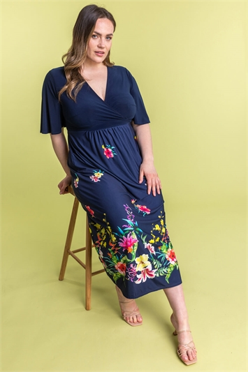 Curve Floral Border Print Maxi Dress