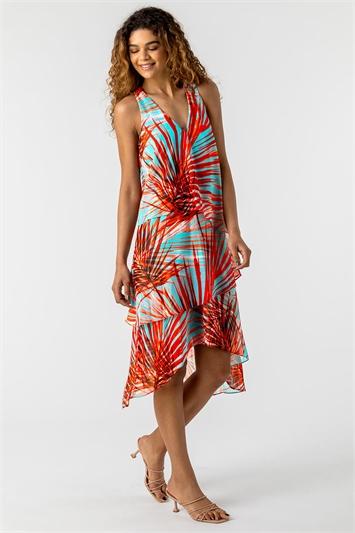 Layered Chiffon Tropical Print Dress