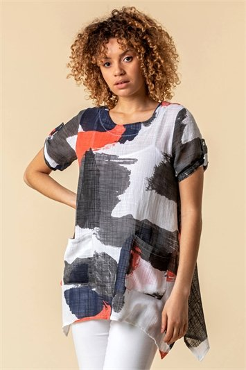 Abstract Print Longline Tunic Top