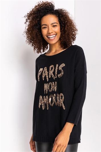 Black Sequin Embellished 'Paris' Jumper