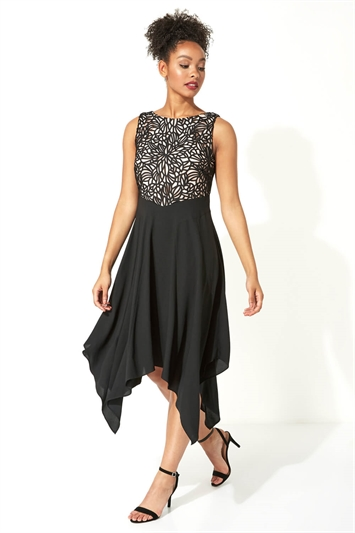 Hanky Hem Lace Fit and Flare Dress