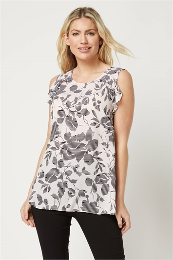 Floral Print Frill Sleeve Top