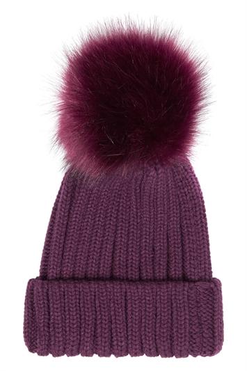 Knitted Pom Pom Beanie Hat