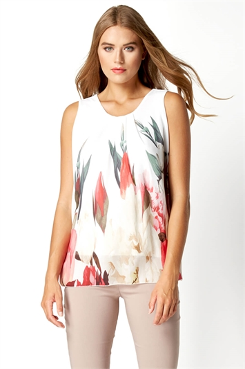 Floral Sleeveless Overlay Top