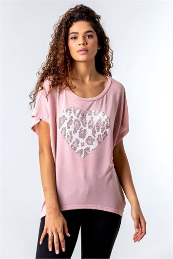 Diamante Embellished Animal Heart Top