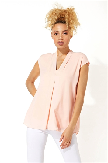 Sleeveless Chiffon Overlay Top