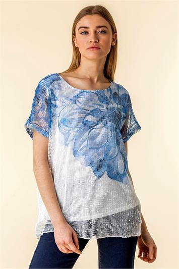 Mesh Overlay Floral Print T-Shirt