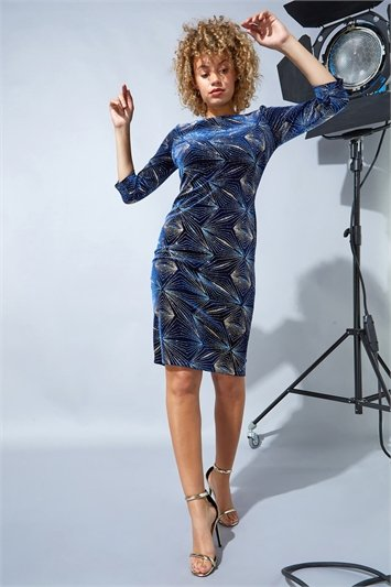 Midnight Blue Glitter 3/4 Sleeve Velvet Dress