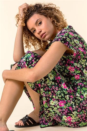 Contrast Floral Print Shirt Dress
