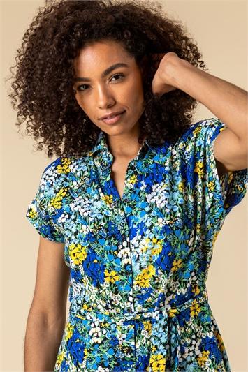 Blue Contrast Floral Print Shirt Dress, Image 1 of 5