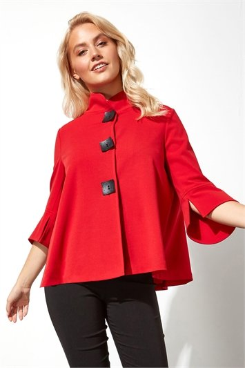Red High Neck Button Detail Swing Jacket