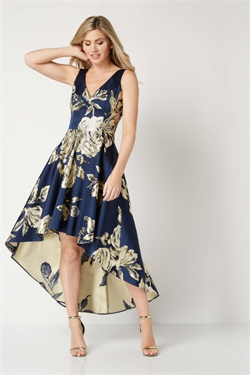 Gold Jacquard Rose Gown Dress