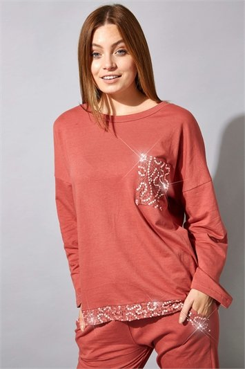 Sequin Pocket Lounge Top
