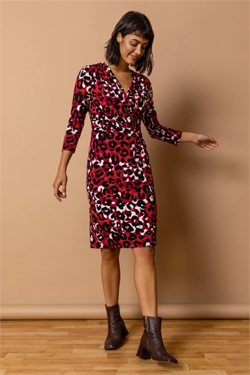 Copper Animal Print Fitted Wrap Dress, Image 1 of 4