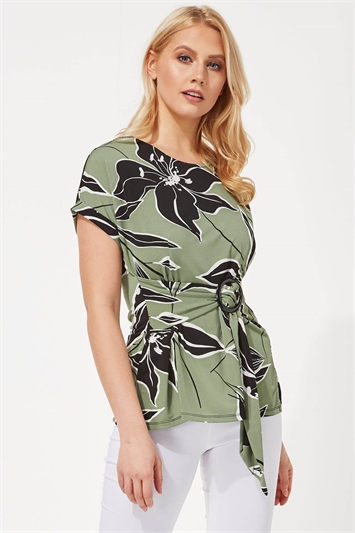 Leaf Print Buckle Detail Top