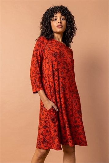 Rust Square Neck Floral Swing Dress