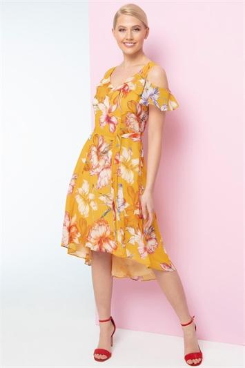 Orange Floral Hanky Hem Cold Shoulder Dress