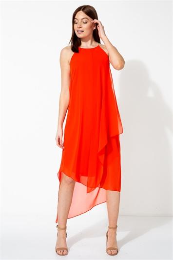 Orange Diamante Trim Layer Dress