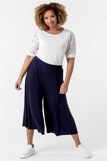 Navy Curve Plain Culotte Trousers