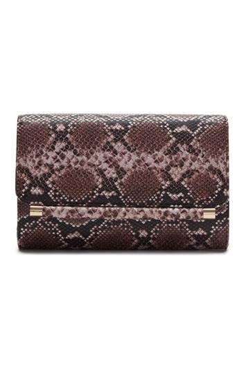 Snakeskin Print Foldover Clutch Bag