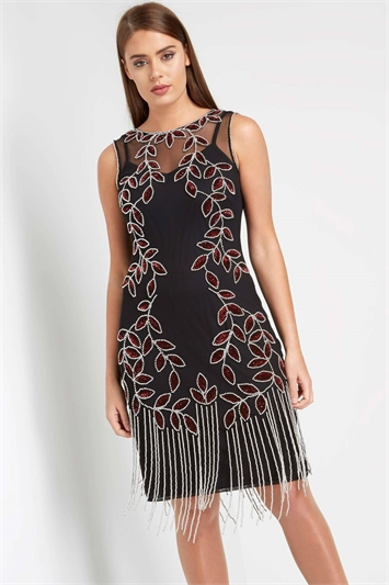 Leaf Embellished Flapper Dress