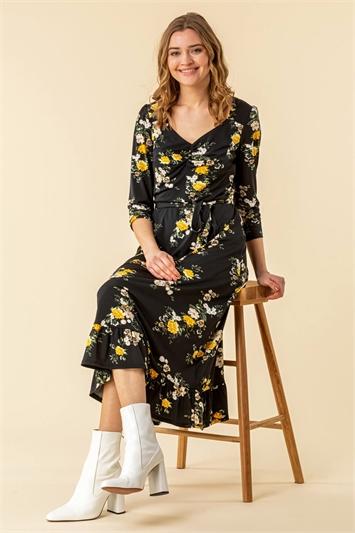 Floral Print Gathered Midi Dress