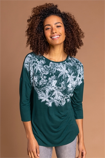Emerald Floral Butterfly Print Top, Image 1 of 5