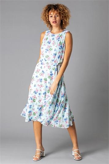 Blue Floral Fit & Flare Midi Dress