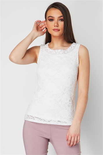 Bead Embellished Lace Shell Top
