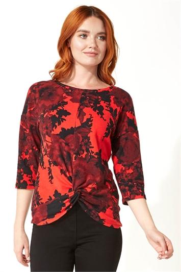 Red Floral Print 3/4 Sleeve Top