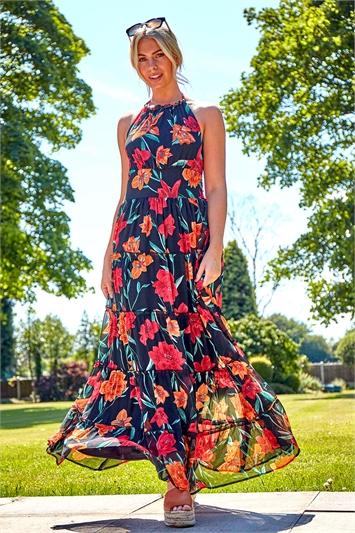 Floral Print Halterneck Maxi Dress