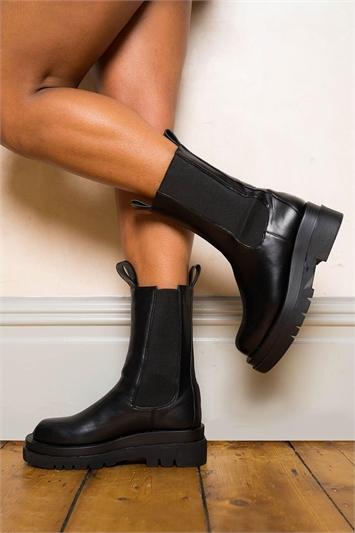 Black Chunky Platform Ankle Boot