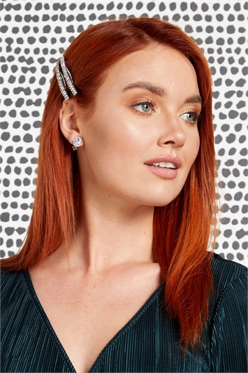 Oval Diamante Clip On Earrings
