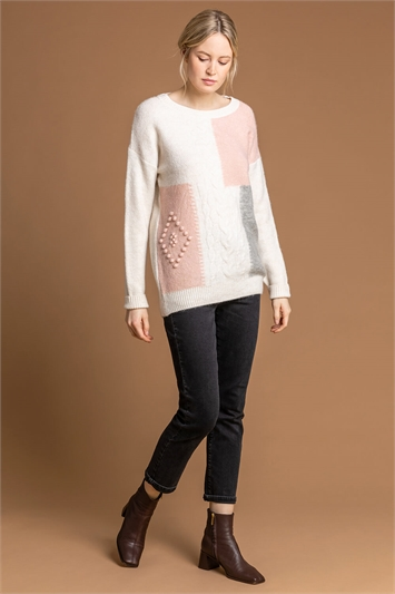 Multi Colour Block Cable Knit Jumper, Image 1 of 5
