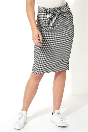 Gingham Tie Waist Pencil Skirt