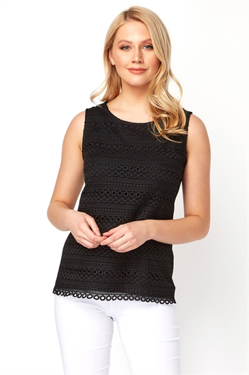 Black Lace Front Sleeveless Top, Image 1 of 8