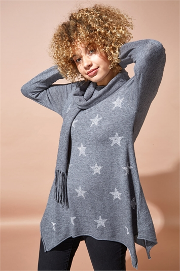 Star Print Knitted Tunic with Tassel Scarf