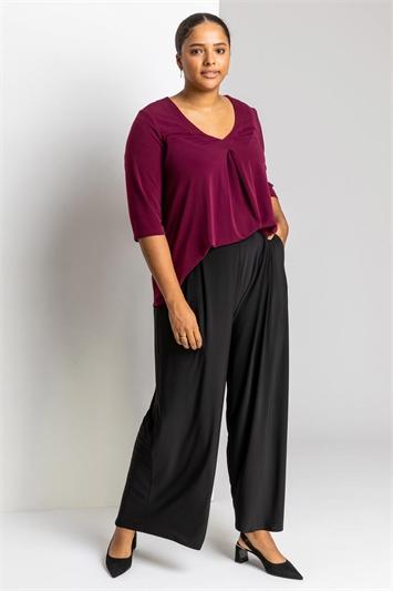 Black Curve Plain Wide Leg Trouser