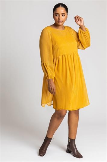 Ochre Curve Chiffon Lurex Stripe Smock Dress