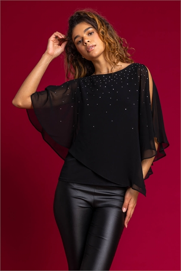 Black Embellished Chiffon Overlay Top