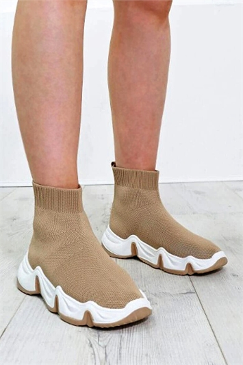 Chunky Curvy Sole Sock Trainers
