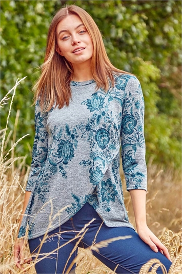Woolly Touch Floral Print Tunic Top