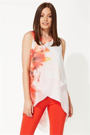 Floral Print Asymmetric Chiffon Top