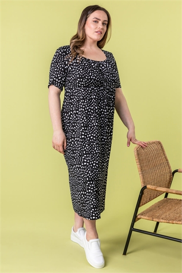Curve Ditsy Spot Print Midi Dress
